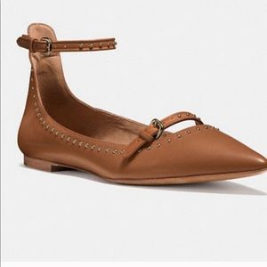 Coach Jody Tan Leather Studded Flats size 10B